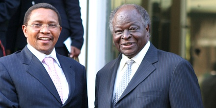 Kikwete and Kibaki: Kibaki seems to be dancing his way happily to the end of his term.