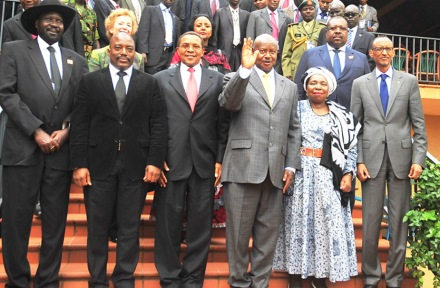 Regional leaders at the Great Lakes summit in Kampala, September 5: The Tanzanian and Rwandan leaders seemed to have stayed as far away from each other as was possible (Photo Stephen Wandera/Daily Monitor)